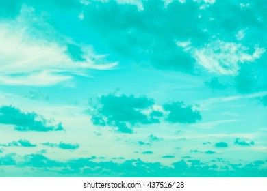 Beautiful White cloud on blue sky background - Vintage Filter