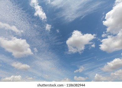 Beautiful white clouds and blue sky background over England UK. Fluffy and wispy cloudscape backdrop