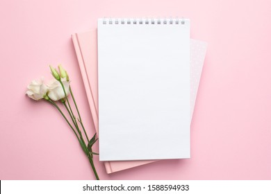 Beautiful white eustoma flower and notebook on pink background