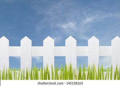 beautiful white fence and blue sky