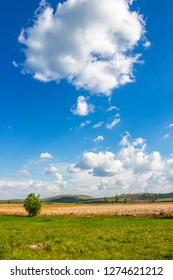 Beautiful white fluffy May cumulus clouds over Dragoman natural karst Marsh - the biggest natural karst wetland in Bulgaria