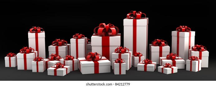 Beautiful white gift boxes with red ribbon isolated on black 3D render ( high resolution )