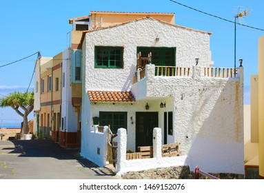 Beautiful white house in Taganana small village in Tenerife Island, Spain. Tourism in Tenerife.