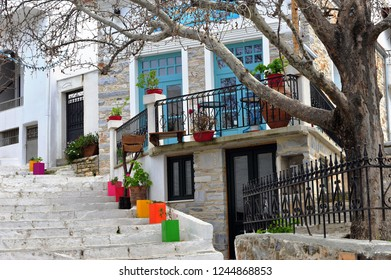 Beautiful white houses in Naxos old town, Cyclades, Greece