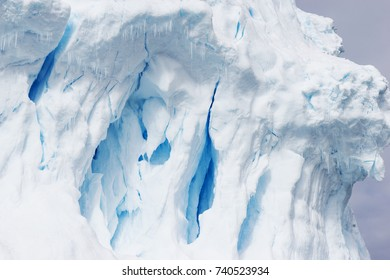 beautiful white icy hill in antarctic