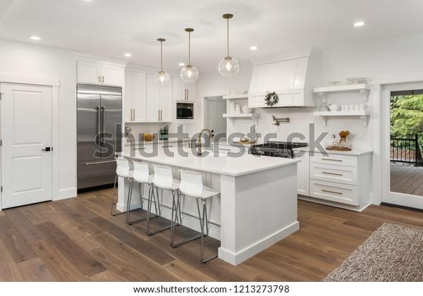 Beautiful White Kitchen New Luxury Home | Buildings ...