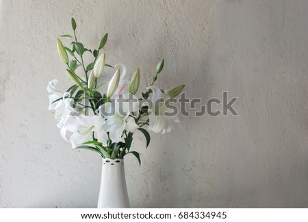 Beautiful White Lily Vase On Background Stock Photo Edit Now