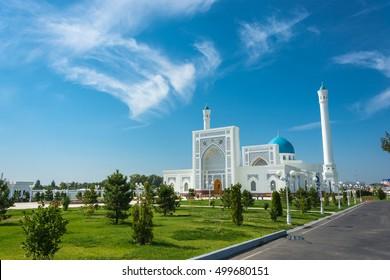 Beautiful white Minor mosque in Tashkent on a sunny day, Uzbekistan.