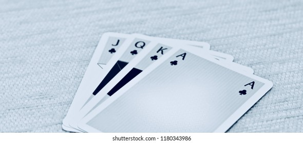 Beautiful white playing cards isolated object unique photo