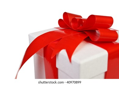 Beautiful white present gift box with red ribbon