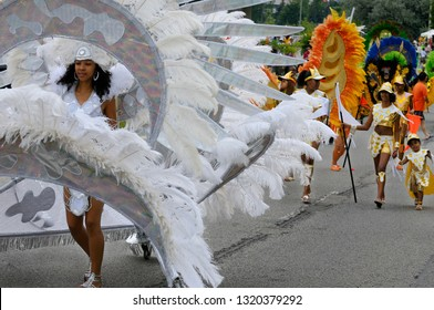 Beautiful white Queen leads the Band at the Junior Caribana Parade in Toronto, Ontario, Canada - July 19, 2008