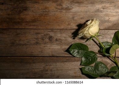 Beautiful white rose on wooden background, top view. Funeral symbol