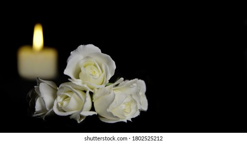 Beautiful White roses with a burning candle on the dark background. Funeral flower and candle on table against black background with copy space. Funeral symbol. Mood and Condolence card concept.
