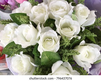 Beautiful white roses in the garden