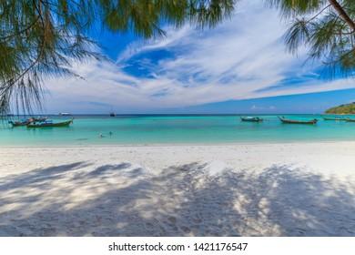 beautiful white sand beach with tree at tropical sea in lipe island thailand