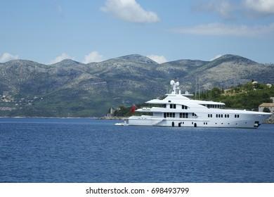 Beautiful White sea boat and azure Mediterranean sea