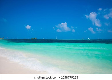 Beautiful white send beach tropical island blue lagoon. Perfect vacation relax sea view on Maldive