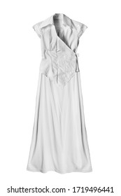Beautiful white silk long dress isolated over white