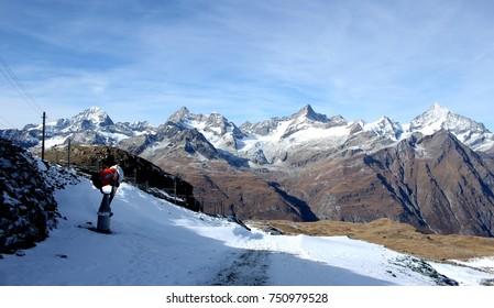 Beautiful white snow mountains landscape in Switzerland, Europe