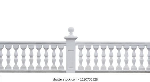 beautiful white stone fence on white background and copy space for text