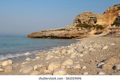 Beautiful white stones on the seacoast