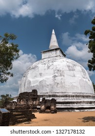A beautiful white stupa at Polonnaruwa, Shri Lanka.