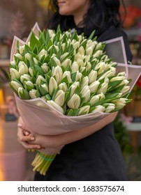 Beautiful white tulips bouquet. Young woman holding big bouquet of fresh tulips wrapped in paper.