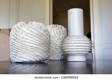 beautiful white vase on a wooden table