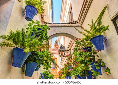 Beautiful White Walls Decorated with Colorful Flowers - Old European Town, Cordoba, Spain.