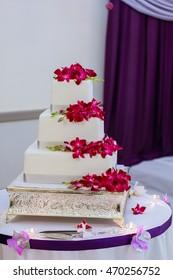 Beautiful white wedding cake flowers, desserts, church sweets