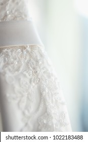 Beautiful white wedding dress detail lace fabric of white wedding dress with embroidery