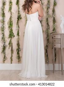 Beautiful white wedding dress on a bride