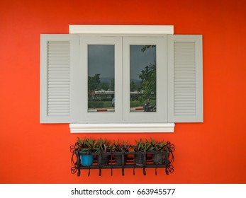 Beautiful white window with small trees decoration on orange wall
