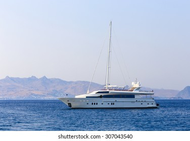 Beautiful white yacht on the sea in summer season
