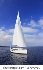 Beautiful white yacht sailing in the sea