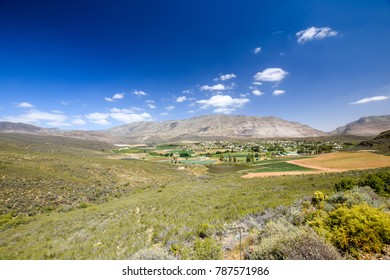 Beautiful wide angle view of Barrydale,  located on the border of the Overberg and Klein Karoo regions,