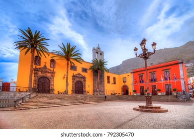 Beautiful wide panorama of famous San Francisco traditional church in the main square of Garachico town of Tenerife, Spain