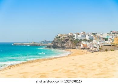 Beautiful, wide sandy beach in Morro Jable, Jandia Penninsula on Fuerteventura, Spain