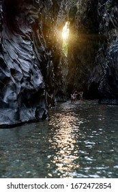 Beautiful wild Alcantara gorge and river in Sicily, Italy