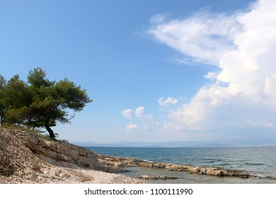 Beautiful wild beach in Sutivan, Brac island, Croatia.