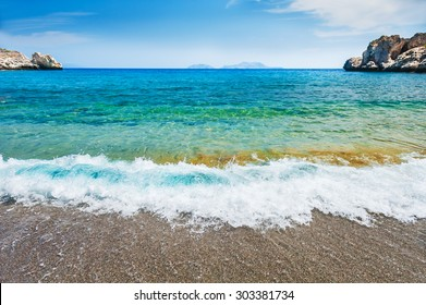 Beautiful wild beach with turquoise water. Agios Pavlos beach, Crete island, Greece.