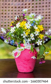 Beautiful Wild Spring Flowers and Daisies  in a Small Pink Vase