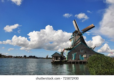 Beautiful wind mills in the village Zaanse Schans in Netherlands