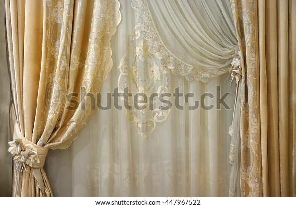 Beautiful window curtains, drapes, pattern, background, texture