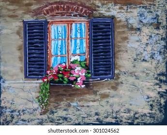 Beautiful window in flowers. Original pastel painting on paper