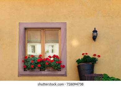 Beautiful window in traditional french house in Colmar, Alsace, France