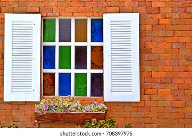 Beautiful window vintage colorful for background.