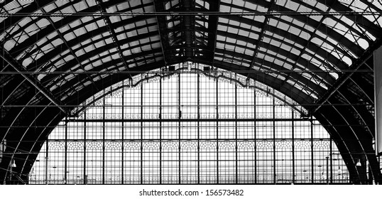 Beautiful windows of Antwerp central station in belgium