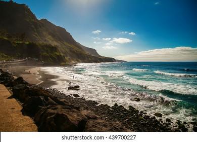 beautiful windy beach Playa El Socorro, Los Realejos, Puerto de la Cruz, Tenerife, Spain