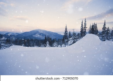 Beautiful winter alpine mountain snowy hills